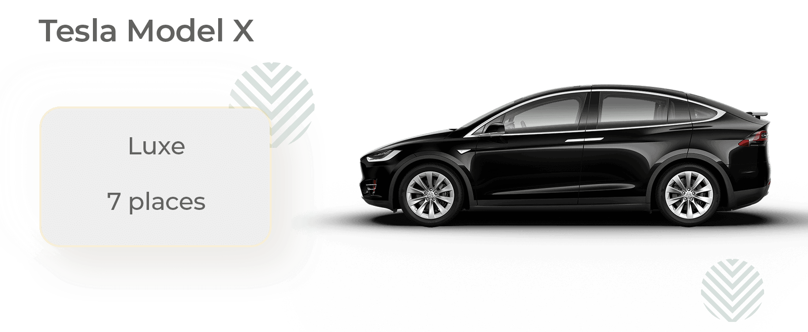 Rent a Tesla Model X with driver for car service and business trips. Enjoy this luxurious SUV (equivalent to a Mercedes S Class or BMW 7 Series) for your private transfers or limo service at airports and train stations for any distance.