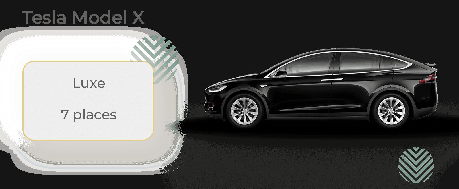 Tesla Model X avec chauffeur location et déplacement professionnels, profitez du luxe de la Tesla Model X (équivalent Mercedes Class S ou BMW Série 7) pour vos déplacements, gare/aéroport ou toute distance