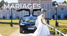 Mariez vous en Tesla. Louer voiture mariés pour mariage, véhicule haut-de-gamme Tesla pour un mariage exceptionnel. Une berline luxueuse et des limousines à couper le souffle pour le Jour J et les enterrements de vie de jeune fille ou jeune garçon